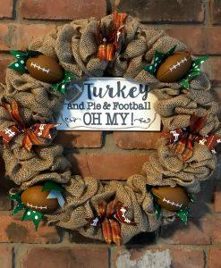 "Turkey and Pie & Football Oh My 16"" Burlap Fall Wreath"