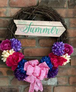 "Hello Summer 16"" Grapevine Wreath Door Decor"