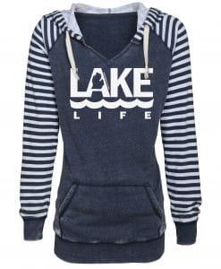 Michigan Lake Life Women's Navy Striped Chalk Fleece Hoodie