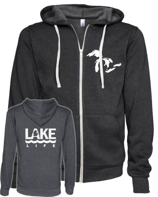 Michigan Lake Life Unisex Heather Black Fleece Full Zip Hoodie