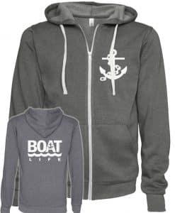 Boat Life Anchor Unisex Heather Gray Full Zip Hoodie