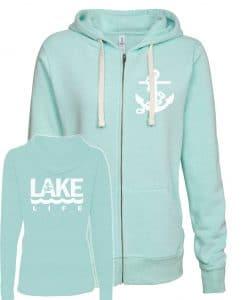 Lake Life Anchor Women's Seaglass Vintage Full Zip Hoodie
