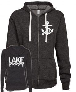Lake Life Anchor Women's Black Vintage Full Zip Hoodie