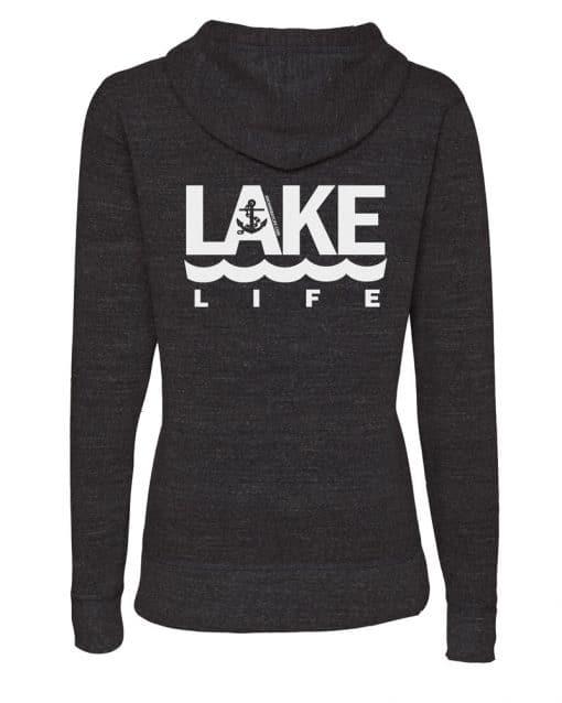 Lake Life Anchor Women's Heather Black Vintage Full Zip Hoodie Back
