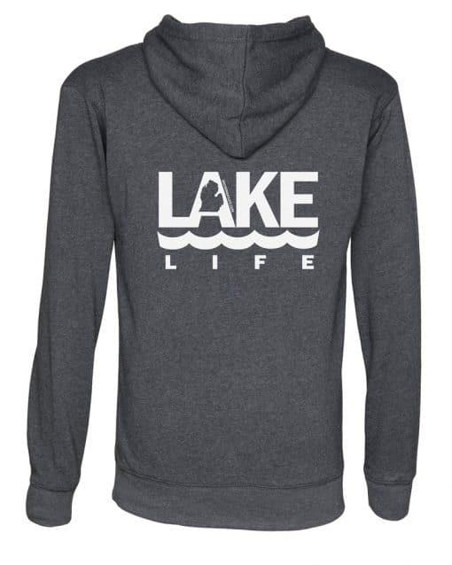 Michigan Lake Life Unisex Heather Black Fleece Full Zip Hoodie Back