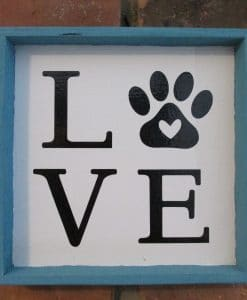 Love with Paw Print Wood Framed Sign