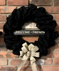 "Welcome Friends 16"" Black Burlap Wreath"