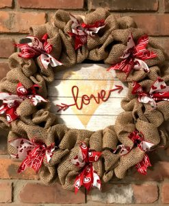 "Valentine's Day Love Red and Gold 16"" Burlap Wreath Door Decor"