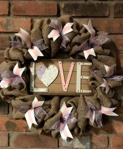 "Valentine's Day Pink and Purple Love 16"" Burlap Wreath Door Decor"