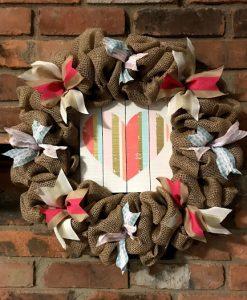 """Heart Valentine's Day 16"""" Burlap Wreath Door Decor"""