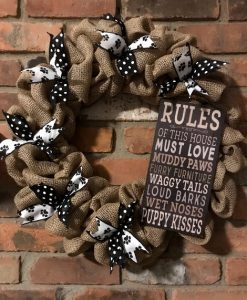 """House Rules Must Love Dogs 16"""" Burlap Wreath"""