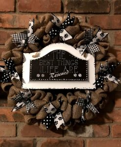 """Best Things in Life are Rescued 16"""" Burlap Dog Wreath Door Decor"""