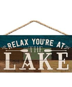 "Relax You're At The Lake 10"" x 4.5"" Wood Sign"
