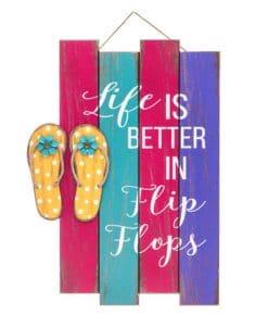 "Life Is Better in Flip Flops 15.35"" x 18.5"" Wood Sign"