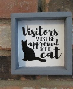 Visitors Approved by the Cat Wood Framed Sign