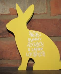 Sitting Wood Bunny-Bunny Kisses & Easter Wishes