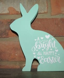 Sitting Wood Bunny-Bright & Happy Easter
