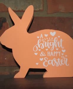 Standing Wood Bunny-Bright & Happy Easter