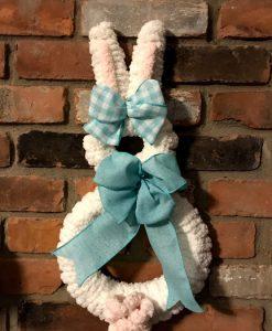 """Bunny Rabbit White Easter 18"""" Wreath Door Decor"""