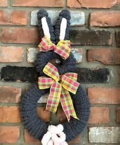 """Bunny Rabbit Gray Easter 18"""" Wreath Door Decor"""