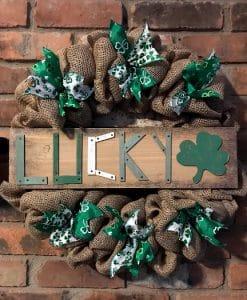 "St Patrick's Day Lucky 16"" Burlap Wreath"