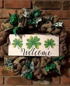 """St Patrick's Day Welcome Shamrock 16"""" Burlap Wreath Door Decor"""