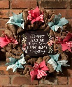 """Happy Easter Spring 16"""" Burlap Wreath Door Decor"""