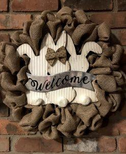 """Bunny Welcome Easter 16"""" Burlap Wreath Door Decor"""