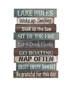 "Lake Rules Boating 15.5"" x 23.5"" Wood Wall Sign"