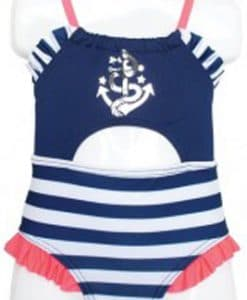 Infant Baby Girls Pink Navy Striped Anchor 1-Piece Swimsuit