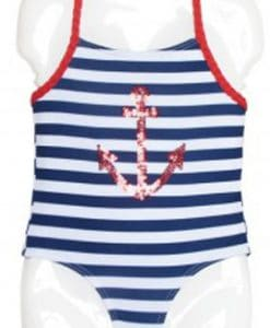 Toddler Baby Girls Navy Striped Red Anchor 1-Piece Swimsuit