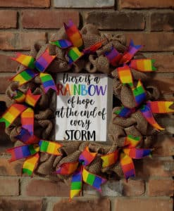 """Rainbow of Hope at the End of the Storm Pride 16"""" Burlap Wreath"""