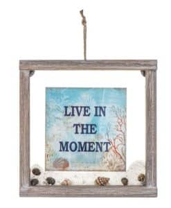 "Live In The Moment Sign: Framed, Glass/Wood 8"" X 8"""