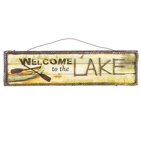 """Welcome To The Lake Wall Sign 18"""" X 6"""""""