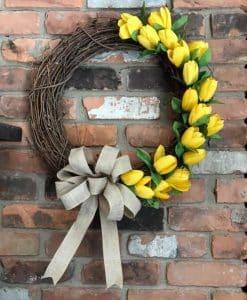 "Yellow Tulip 18"" Grapevine Wreath"