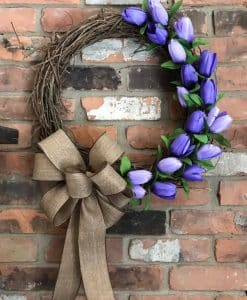 "Purple Tulip 18"" Grapevine Wreath"