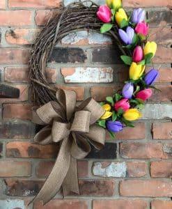 "Pink Yellow Purple Tulip 18"" Grapevine Wreath"
