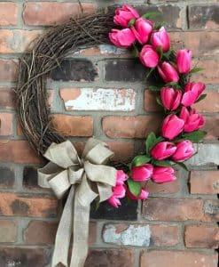 "Pink Tulip 18"" Grapevine Wreath"