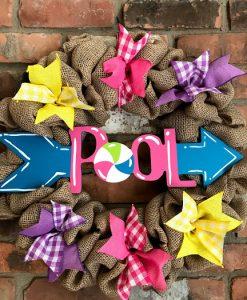 "Summer Pool Arrow 16"" Burlap Wreath"