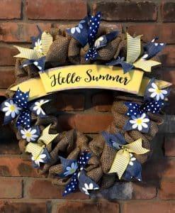 "Hello Summer Daisy 16"" Burlap Wreath"