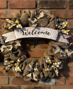 """Welcome Bee 16"""" Burlap Wreath"""
