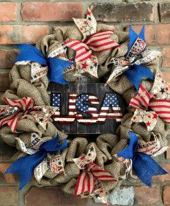 """USA Patriotic 16"""" Burlap Wreath"""