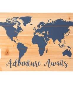 "Adventure Awaits MDF Sign Blue 15.75"" X 11.8"""