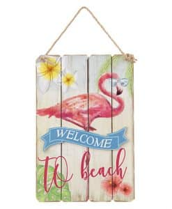 "Flamingo Wall Art Welcome Sign 6.3"" X 9.5"""