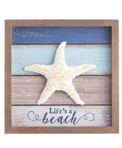 """Life's A Beach Framed Starfish Tabletop Decor 8"""" X 8"""""""