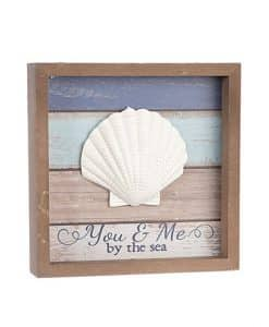 "You & Me By The Sea Tabletop Sign With Shell Accent 8"" X 8"""
