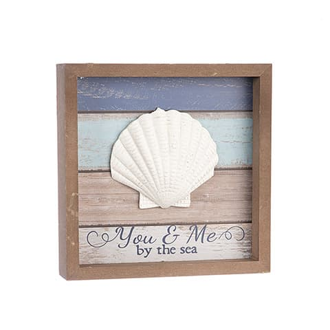 """You & Me By The Sea Tabletop Sign With Shell Accent 8"""" X 8"""""""