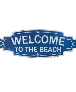 Blue & White Welcome To The Beach Sign 23.5""