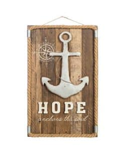 "Hope Anchors the Soul 11.5"" X 18.5"" Wood Wall Decor"