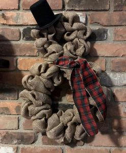 """Snowman with Scarf and Top Hat 16""""x25"""" Burlap Wreath"""